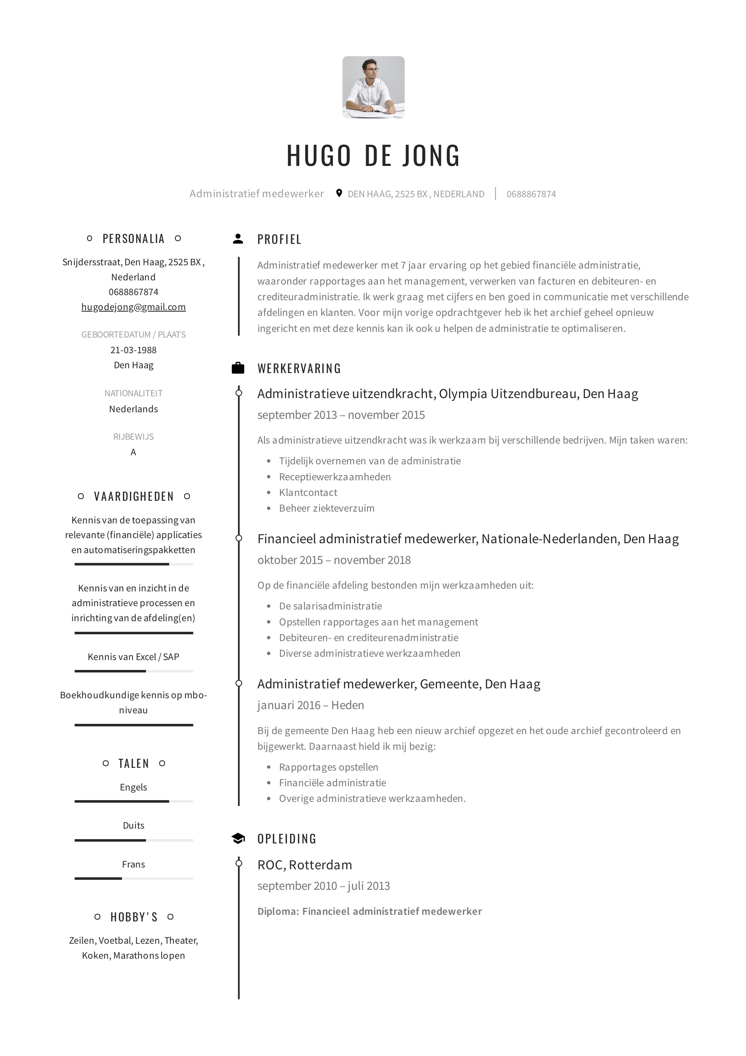 Sjabloon CV Administratief Medewerker, zie ook de 12