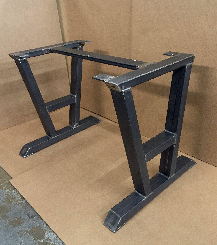 Turned A Shaped Modern Steel Base Design Steel Table Legs 1 Cross Brace Modern Industrial Sturdy Dining Table Base Steel Table Legs Dining Table Bases Steel Table