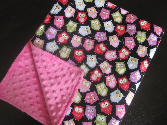 Baby Blanket Owl Hot Pink Minky Carseat Blanket Infant Toddler Bigger sizes Girl on Etsy, $28.99