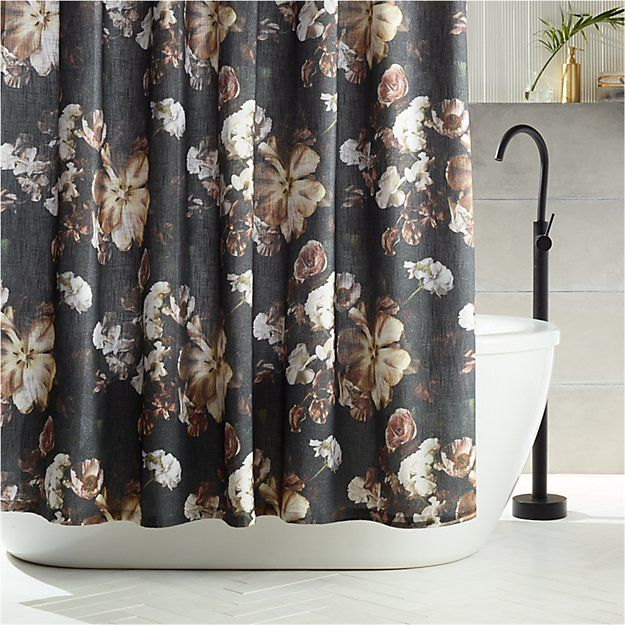 Reese Black Floral Shower Curtain Floral Shower Curtains Modern
