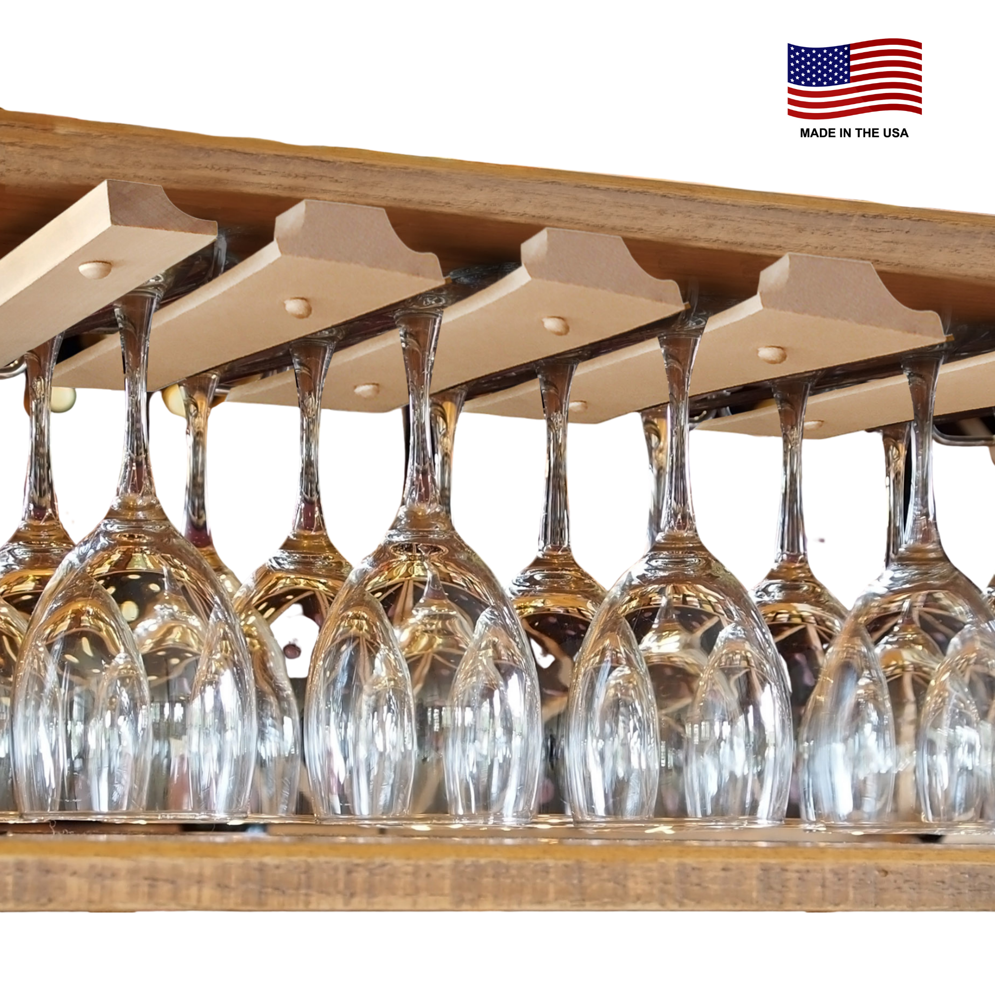 Wine Glass Rack Under Cabinet for Hanging Glasses - Double