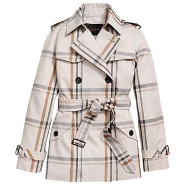 Pre-owned Coach Plaid Trench Trench Coat featuring polyvore, women's fashion, clothing, outerwear, coats, jackets, ivory, winter white trench coat, ivory coat, pink plaid coat, fur-lined coats and tartan coat