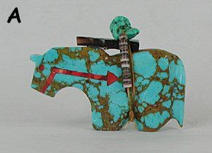 Native American Zuni Indian Horse Fetish carving of turquoise