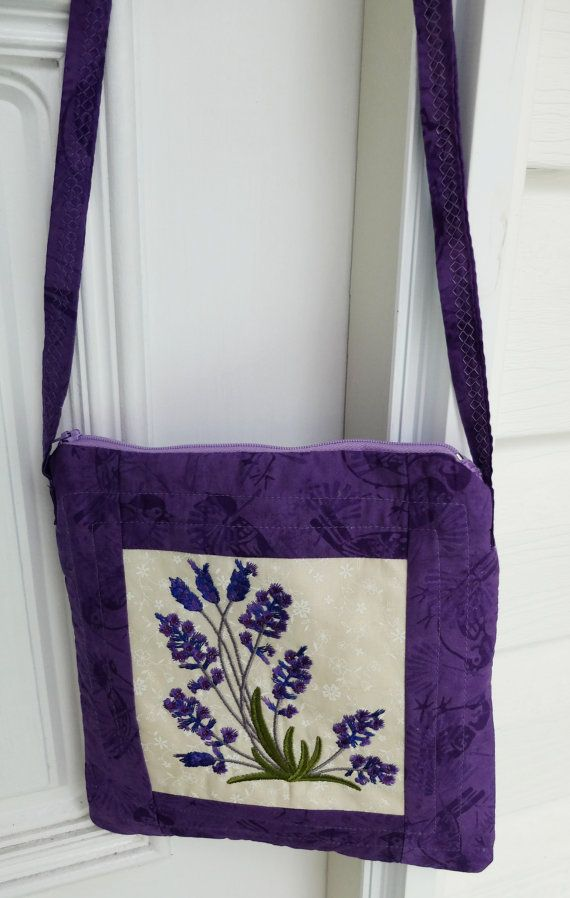 Patchwork quilted purple lined bag with by StephsQuilts on Etsy