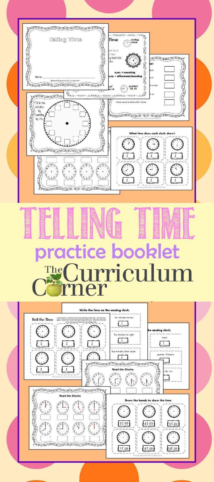 Telling time practice booklet 2 pinterest telling time telling time practice booklet free from the curriculum corner ibookread Download