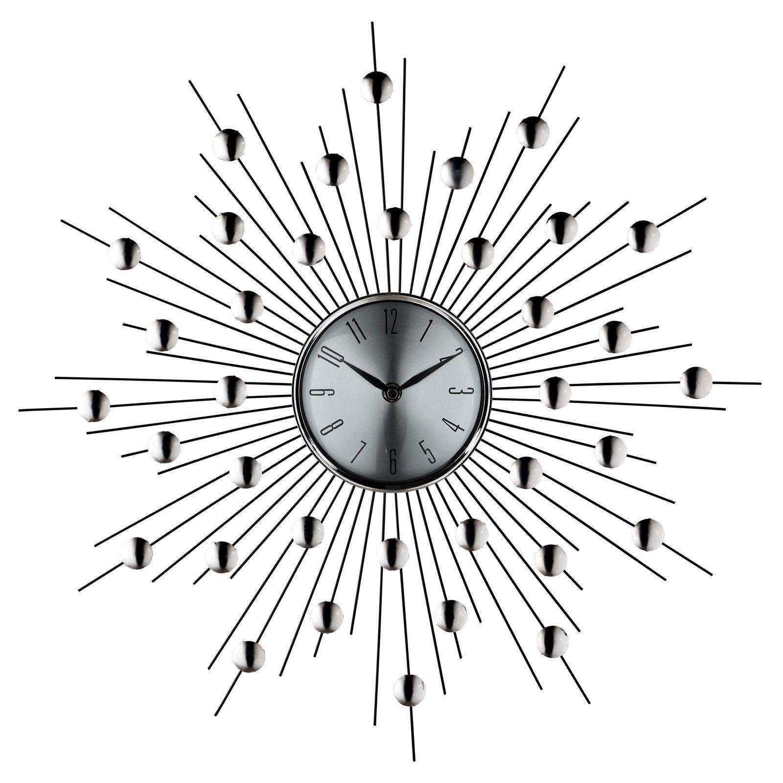 Starburst Wall Clock In Silver Black