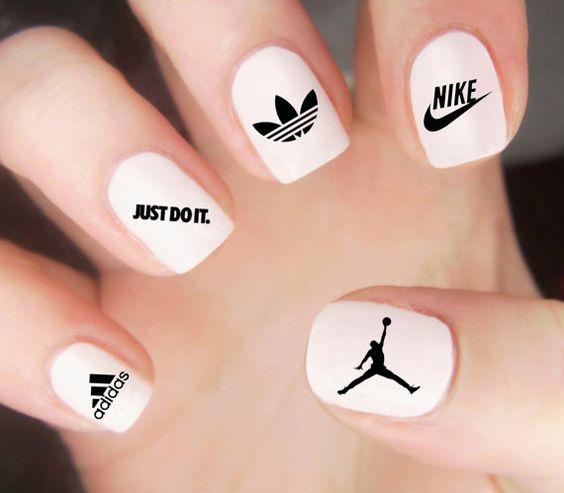 Nike Adidas Nike Adidas Amazing Nail Art Print Adidas