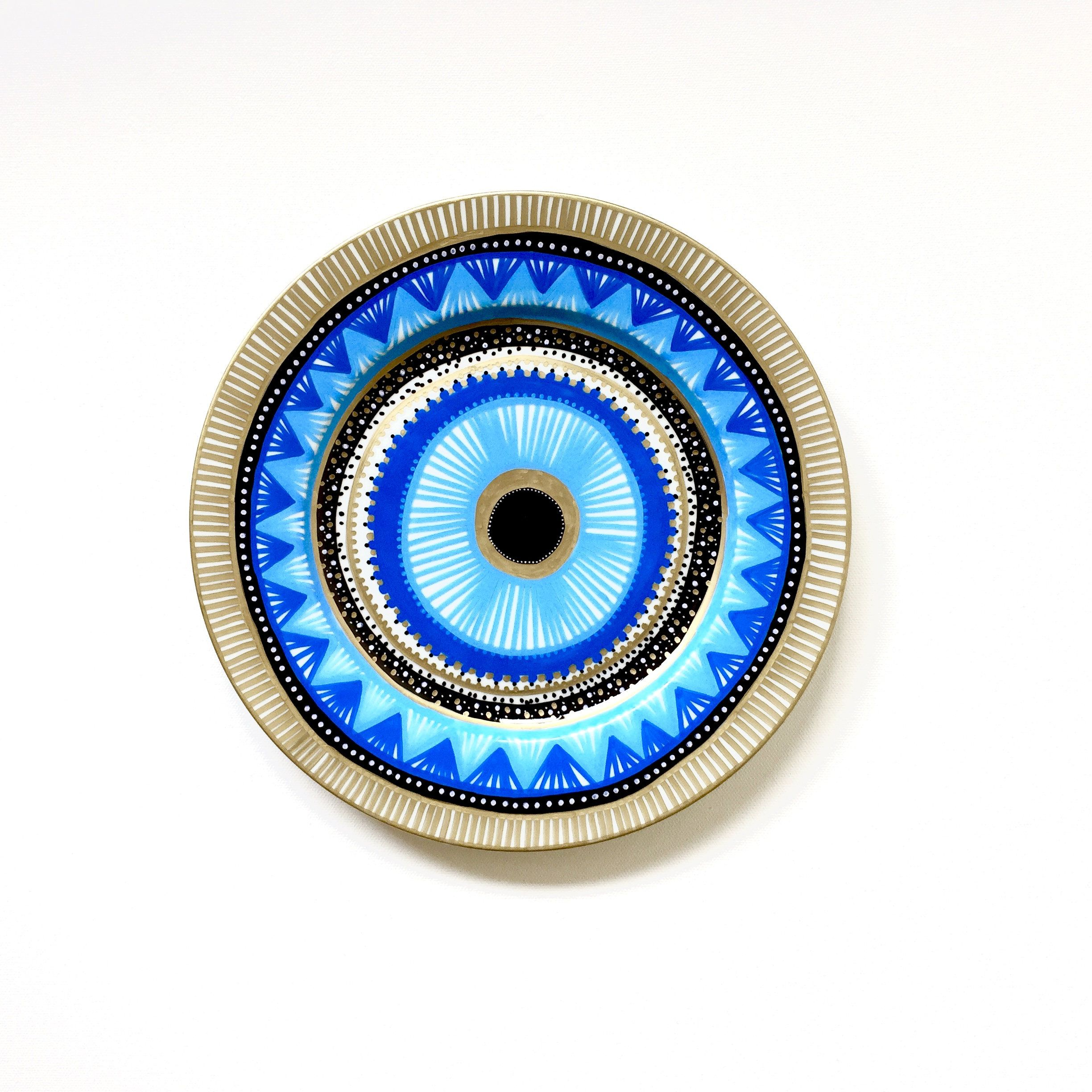 Blue Decorative Wall Plates Mesmerizing Evil Eye Decor  Decorative Plate  Mandala Decor  Wall Hanging Decorating Design