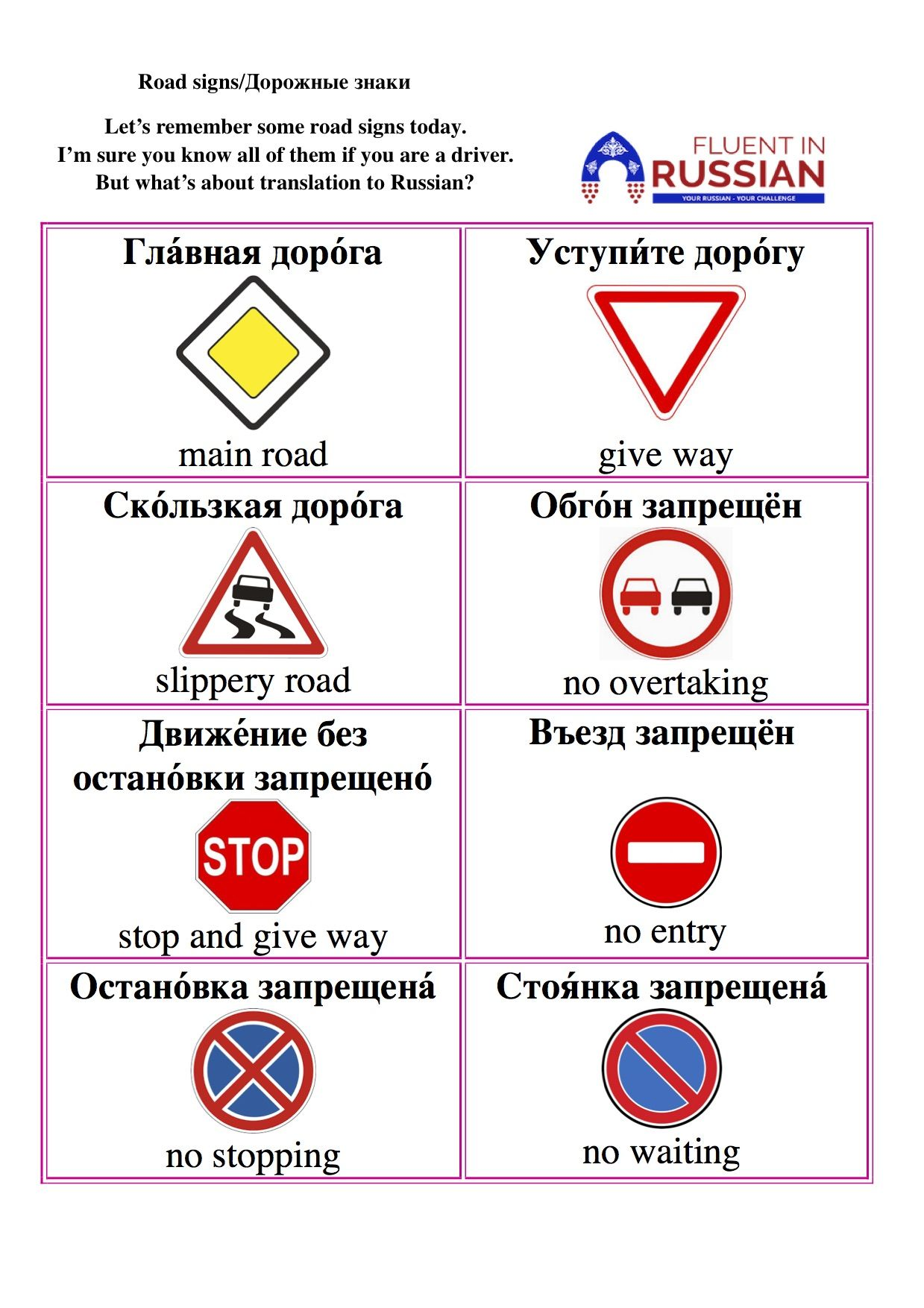 Road Signs In Russian