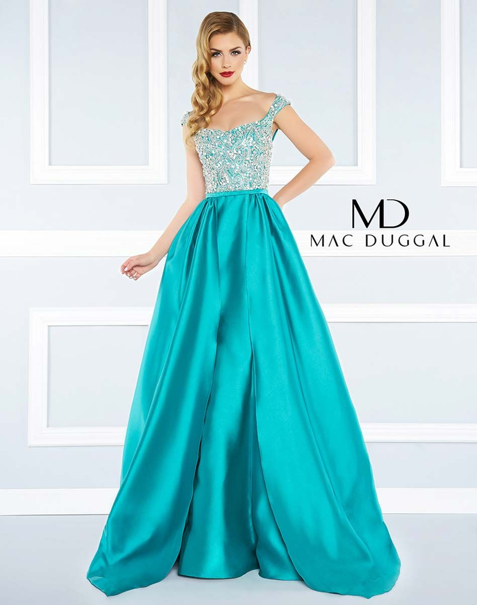 Ball gown with overskirt, beaded bodice and caped sleeve. | Black ...
