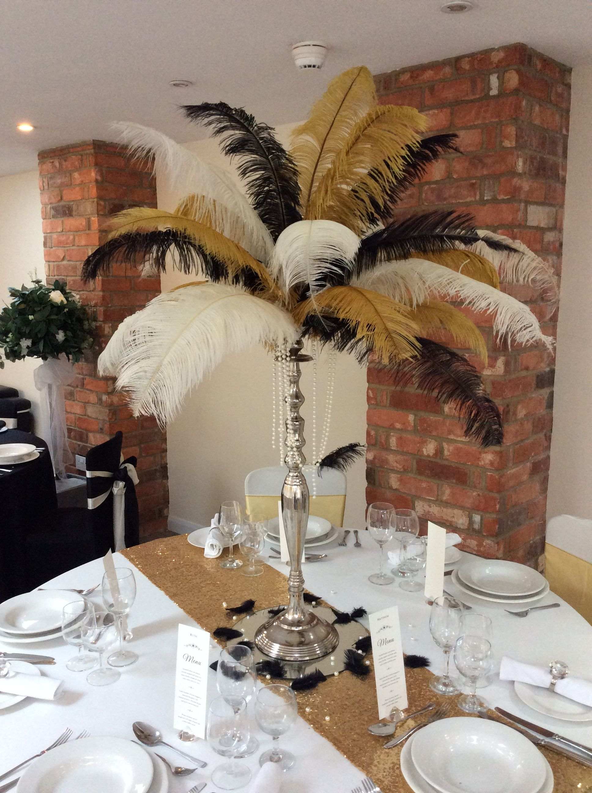 Black Gold And Cream 1920 S Inspired Feather Centrepiece By Add
