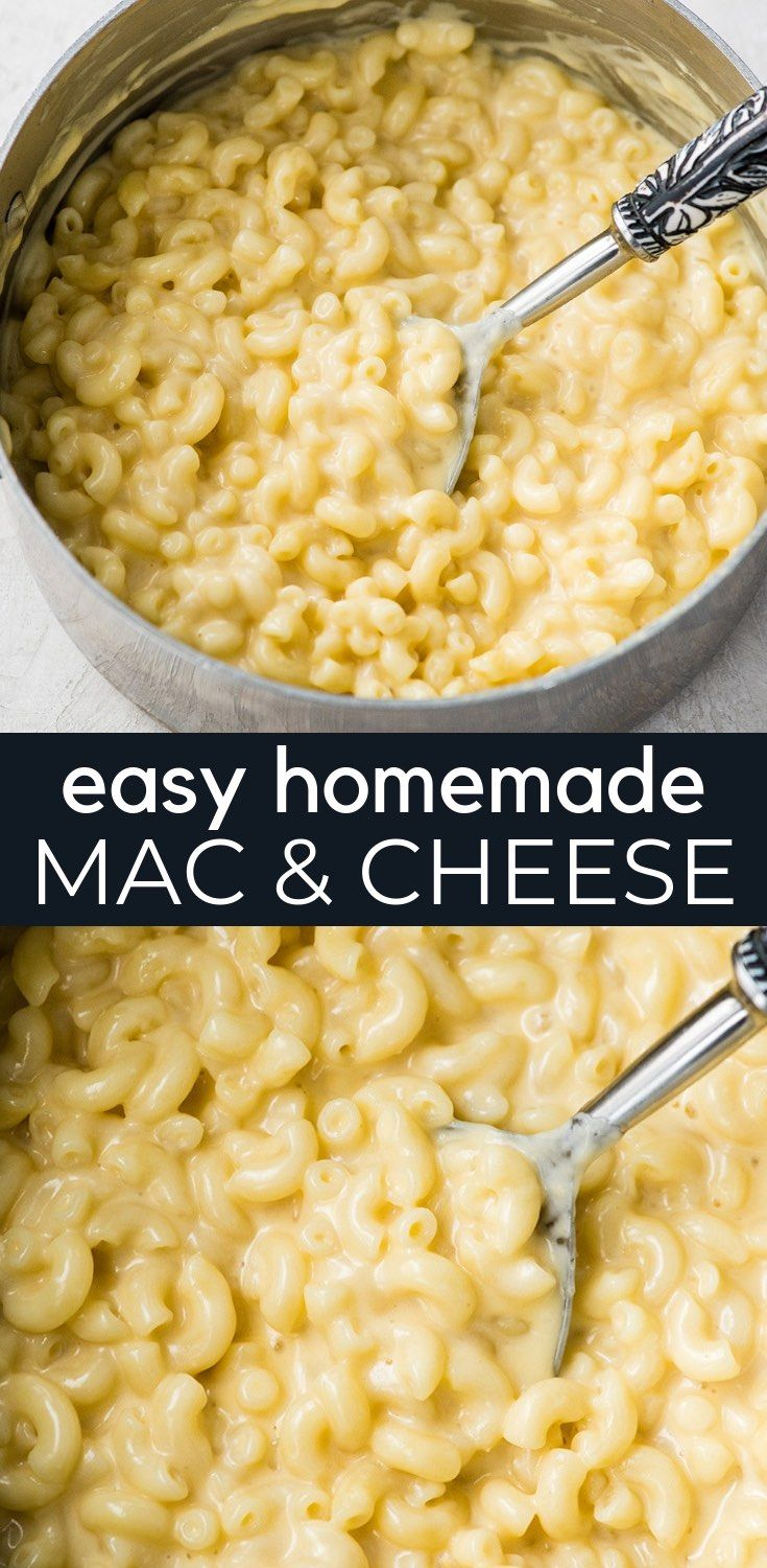 This Easy Homemade Mac and Cheese Recipe is made with 6 ingredients in 15 minutes on the stovetop (no baking required)! Time to ditch the boxed mac and cheese for this irresistibly creamy, smooth & cheesy homemade recipe! #homemade #macandcheese #homemademacandcheese #sidedish #maindish #kidfriendly #tacomacandcheese