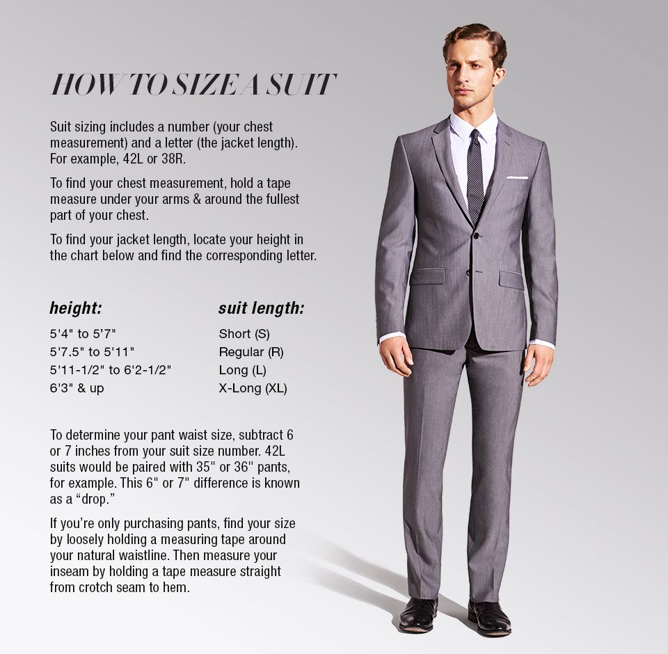 how to size a suit suit sizing includes a number your chest measurement and a letter the. Black Bedroom Furniture Sets. Home Design Ideas