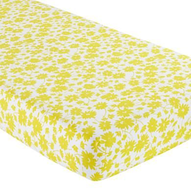 Baby Sheets: Yellow Floral Crib Fitted Sheet in Crib Fitted Sheets