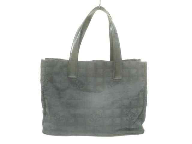 9513781ef27 Auth CHANEL New Travel Line Tote MM Black Nylon Jacquard Leather Bag   fashion  clothing