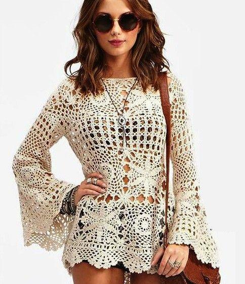 La tnica de ganchillo ms popular crafts pinterest crochet cute tunic long sleeve beach crochet sexy dress lace by copperlife dt1010fo