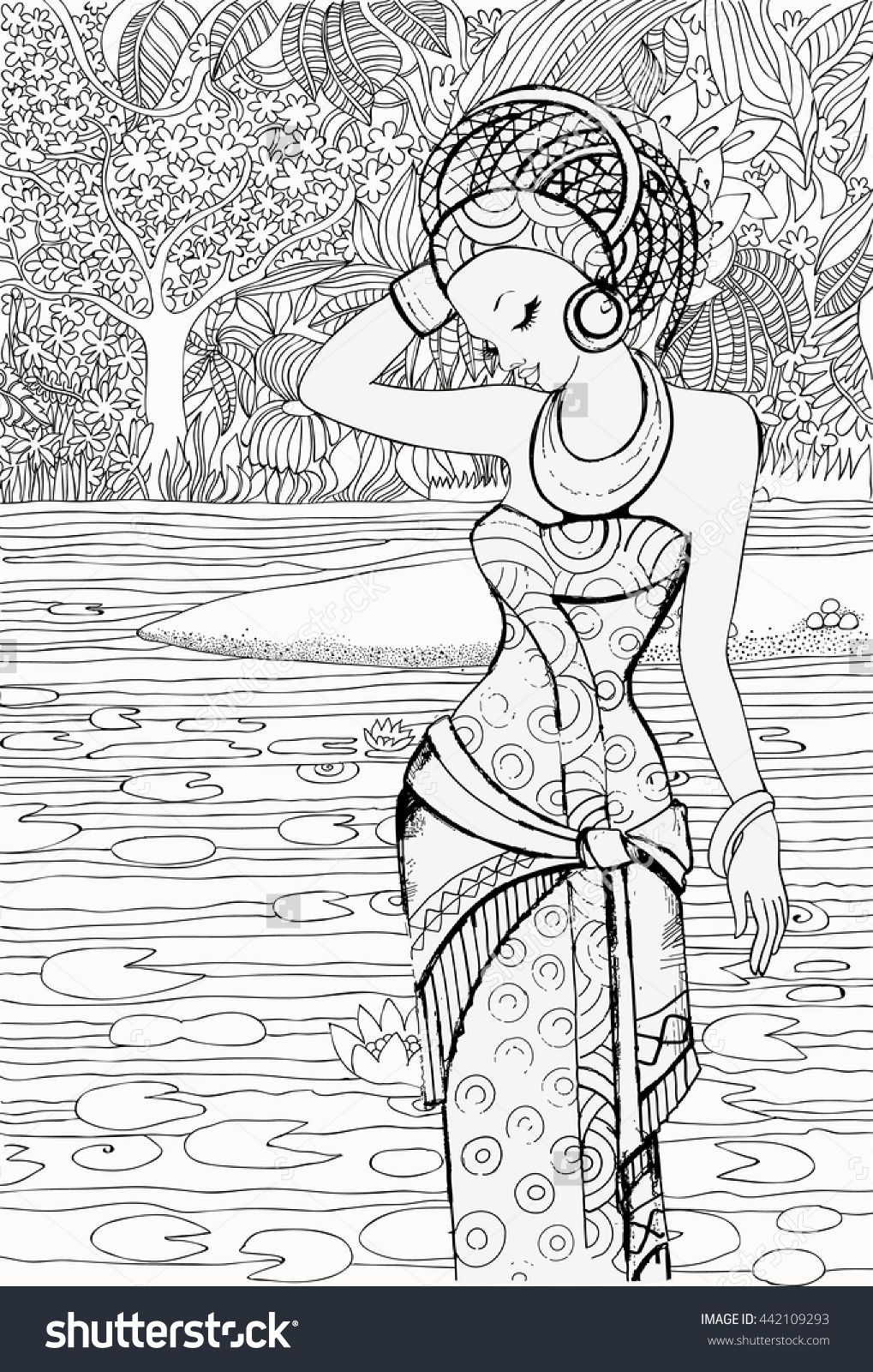 Beautiful african woman in the background of the african landscape coloring pages africa