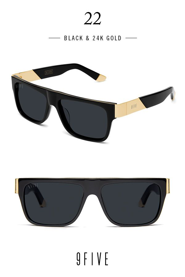 15fca3f3d 9FIVE 22 Black & 24k Gold Sunglasses | glasses | Sunglasses, Gold ...