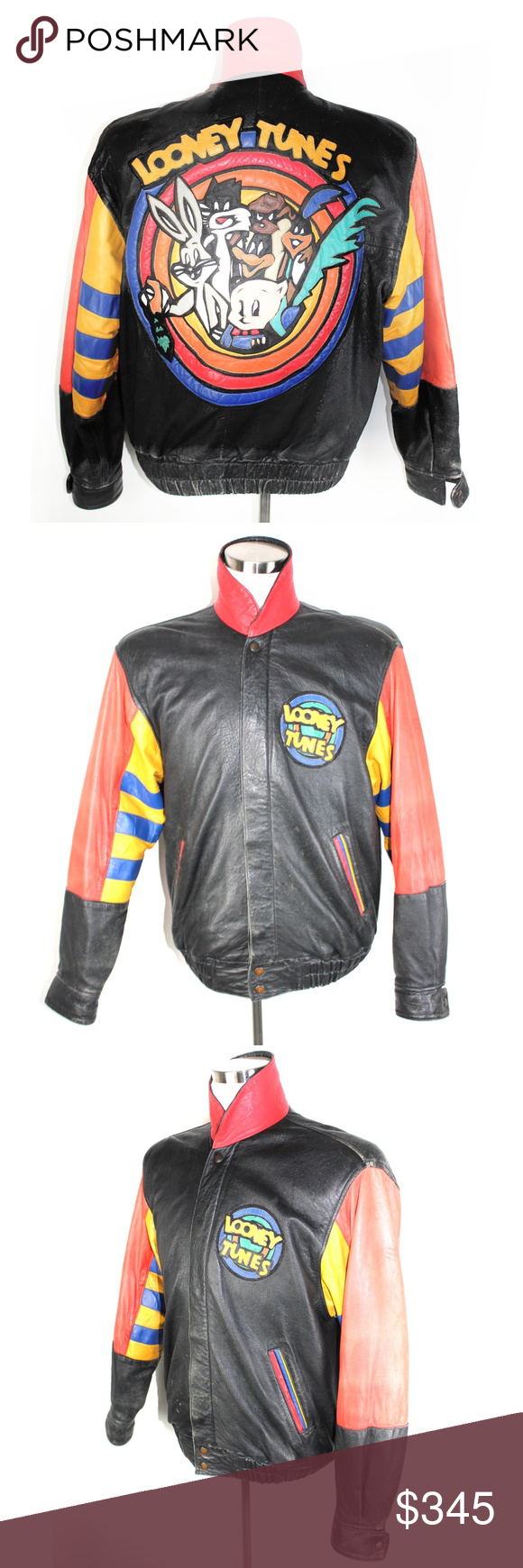 Vintage Jeff Hamilton Looney Tunes Leather Jacket Vintage Leather Jacket Jackets Leather