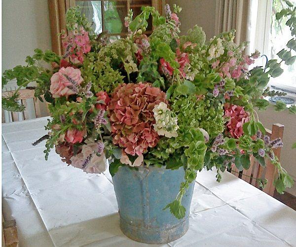 Beautiful Flower Arrangements For Weddings: Beautiful Arrangement In Blue Bucket