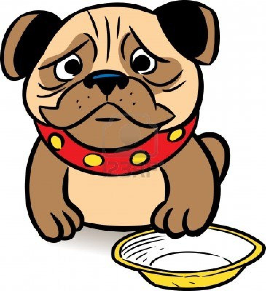 the picture shows a sad puppy pug asks a meal in a bowl illustration rh pinterest co uk