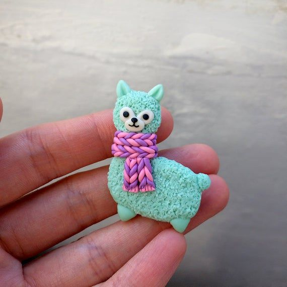 Llama knitted scarf brooch handmade polymer clay, brooch alpaca, animal jewelry