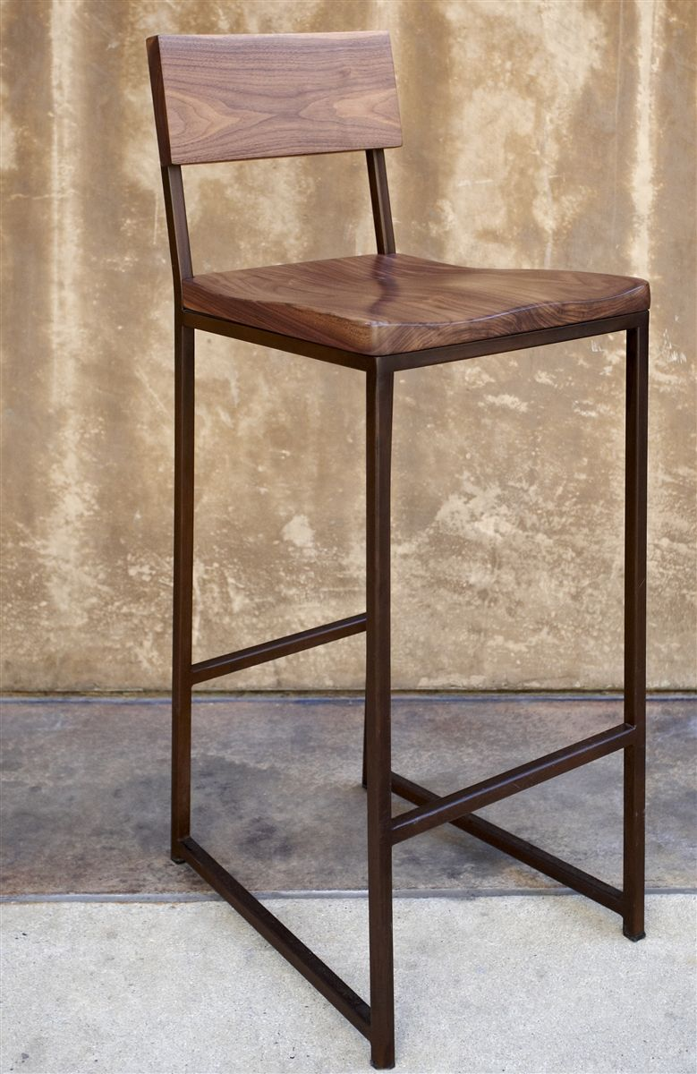Wood Metal Barstool 255 Walnut Seat Metal Frame