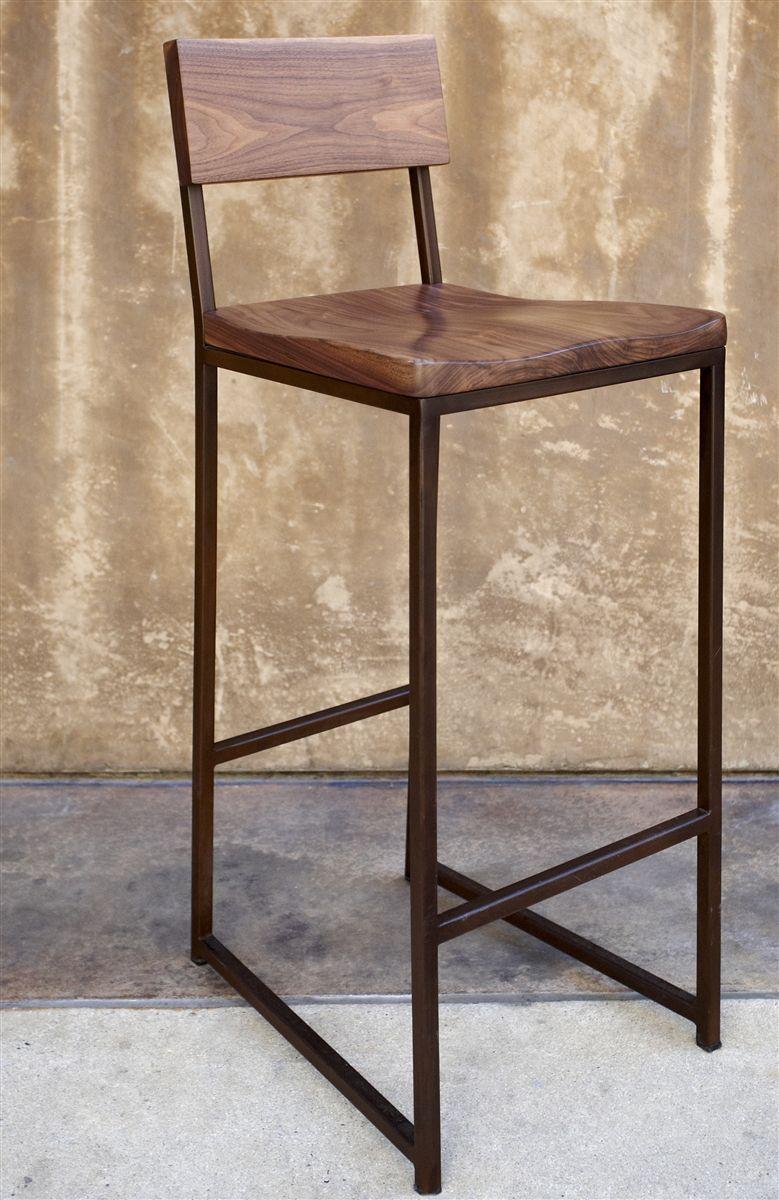 Wood Metal Barstool 255 Walnut Seat Metal Frame Size 15 W X 16 D X 39 H Seat Height 30 C Metal Bar Stools Wood Bar Stools Metal Wood Bar Stool