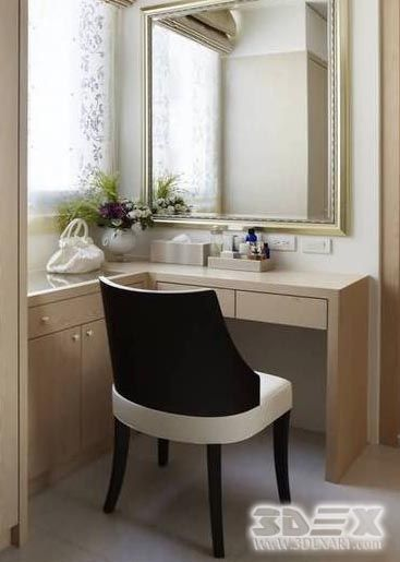 White Wooden Corner Dressing Table Designs For Modern