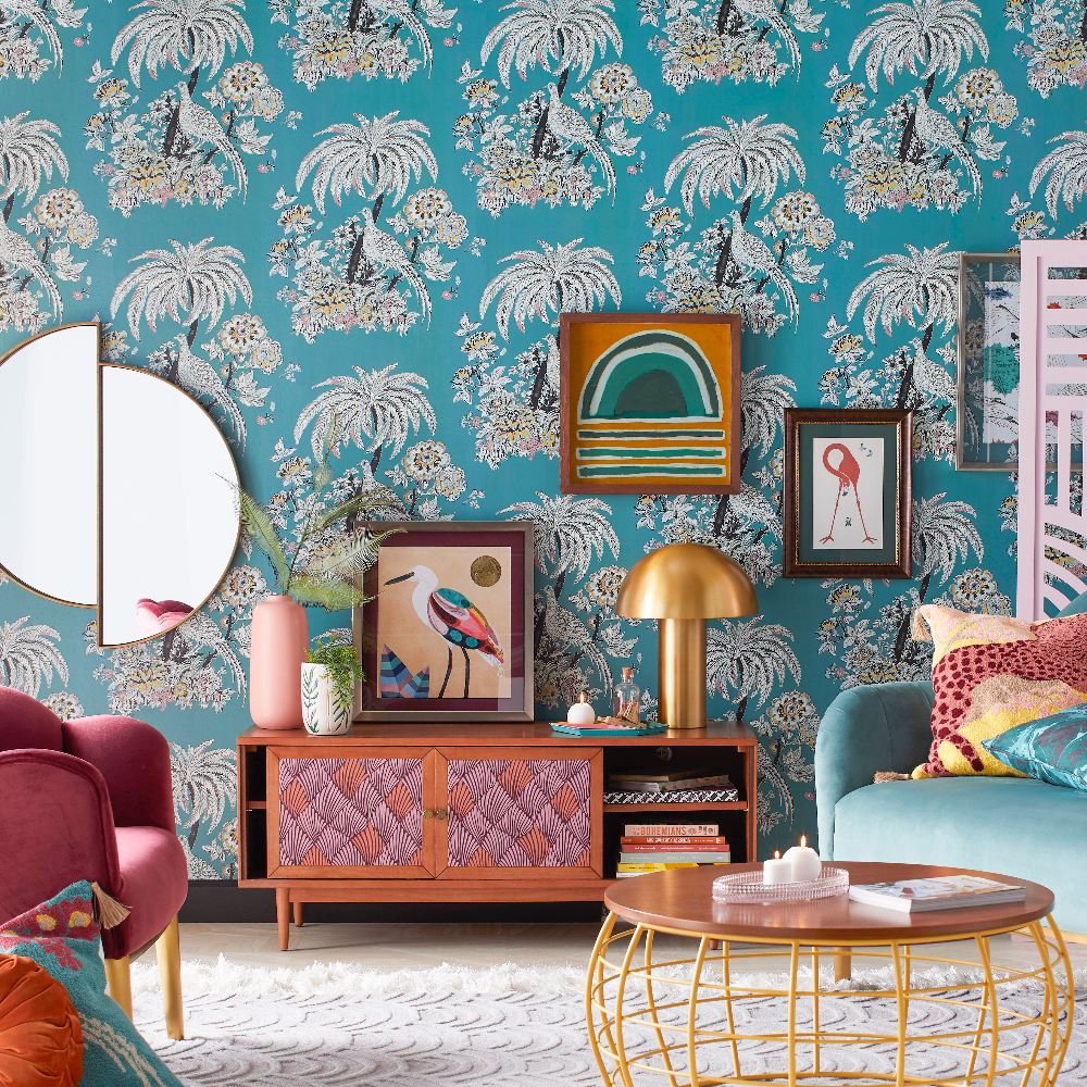 Tropical Toile Peel And Stick Wallpaper By Drew Barrymore Flower Home Teal Walmart Com In 2020 Decor Home Collections Home
