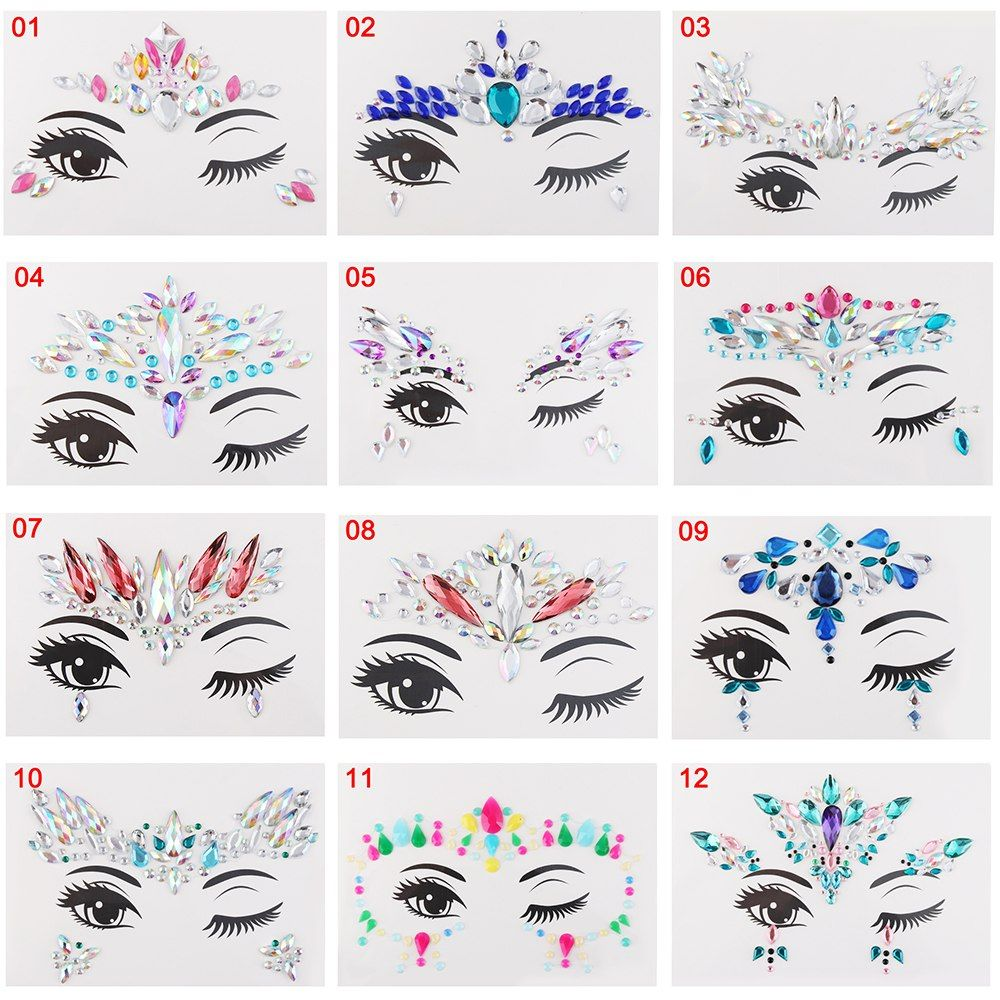 285c748ddb 1Pcs Face Jewelry Festival Party Stage Makeup Eyes Gems Rhinestone ...
