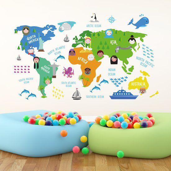 Walplus muursticker kinder wereldkaart multicolor thecheapjerseys Gallery