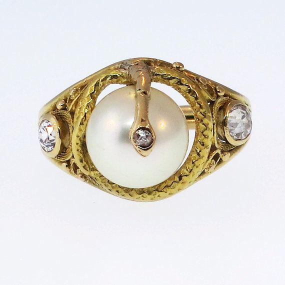 Rare Victorian Serpent Pearl Ring w/ Old Mine by YourJewelryFinder, $1599.00