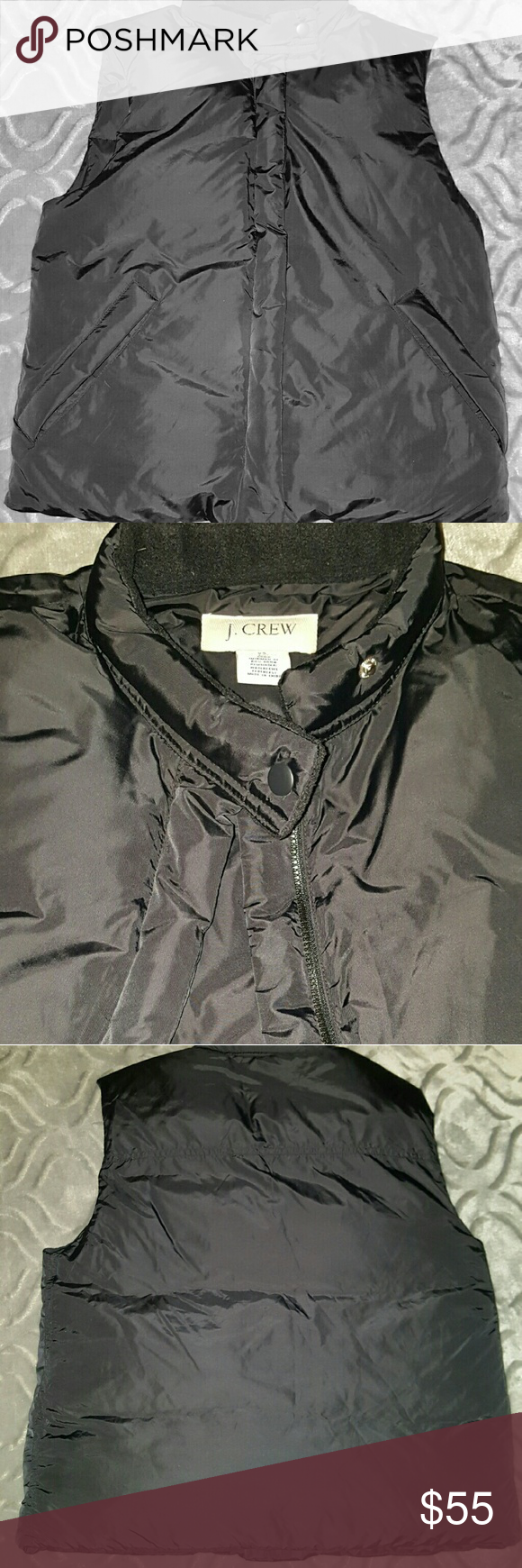 J. Crew Down Classic Puffer Vest Black In excellent condition with 2 front zip pockets to secure your belongings. Very warm and such a classic look. Minimum 80% down, remainder waterfowl feathers. From a smoke free environment. Full zip with top and bottom snap. J. Crew Jackets & Coats