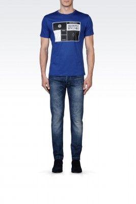 Camiseta Emporio Armani Men's Printed Cotton Crew Neck T-Shirt Blue M1T25JM1Q4J1903 #Camisetas #EmporioArmani