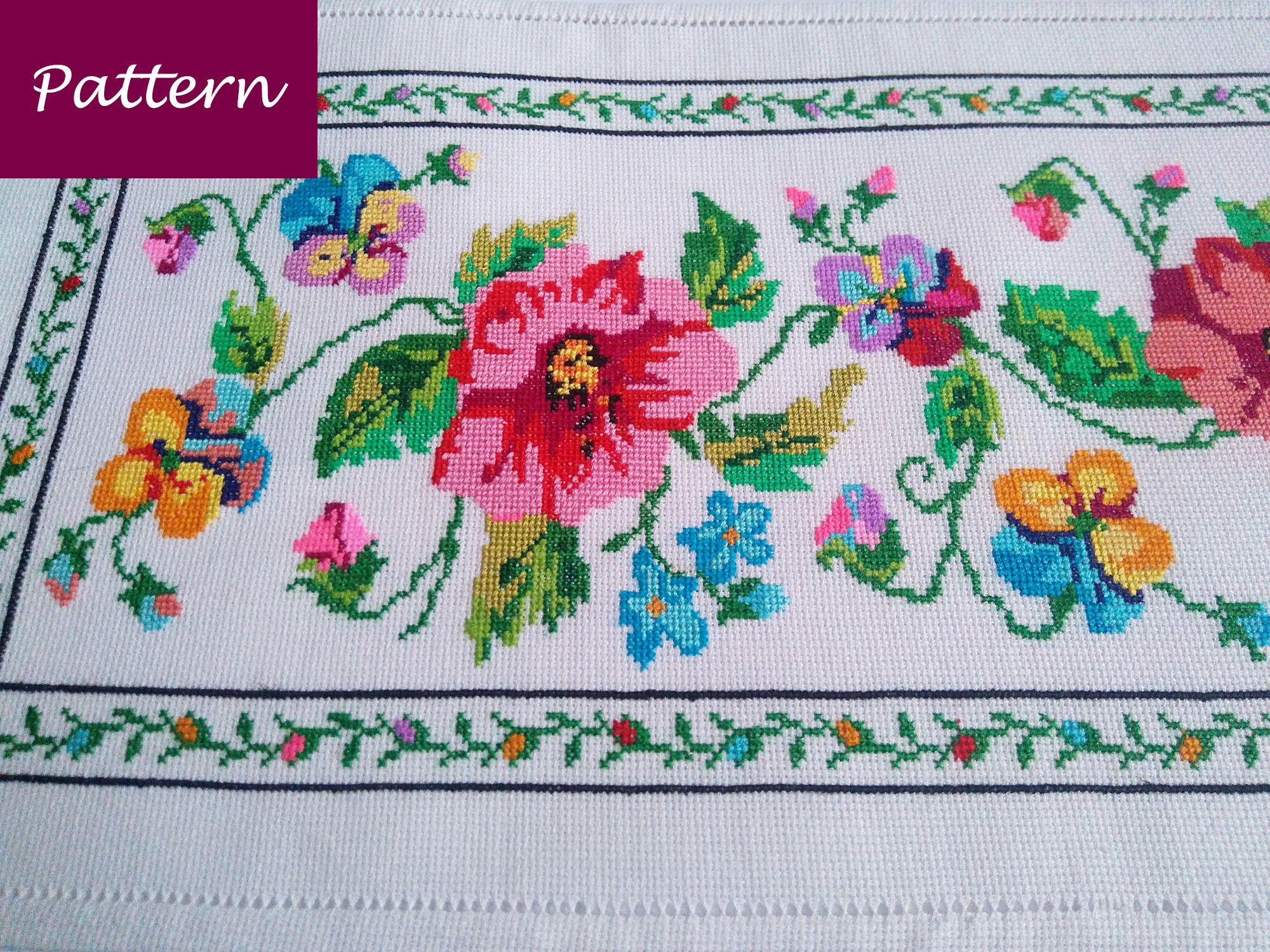 Cross Stitch Pattern Colorful Tablecloth With Flowers Diy Etsy Colourful Cross Stitch Easy Cross Stitch Patterns Stitch Patterns