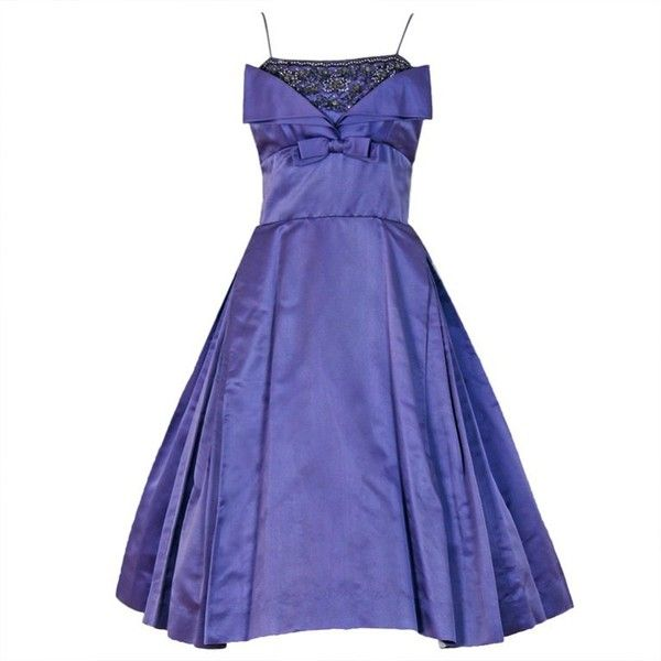 Preowned 1950's Lilac-purple Rhinestone Beaded Satin Shelf-bust... (€560) ❤ liked on Polyvore featuring dresses, ballerina dresses, purple, purple evening dress, purple cocktail dresses, holiday party dresses, beaded cocktail dresses and vintage dresses
