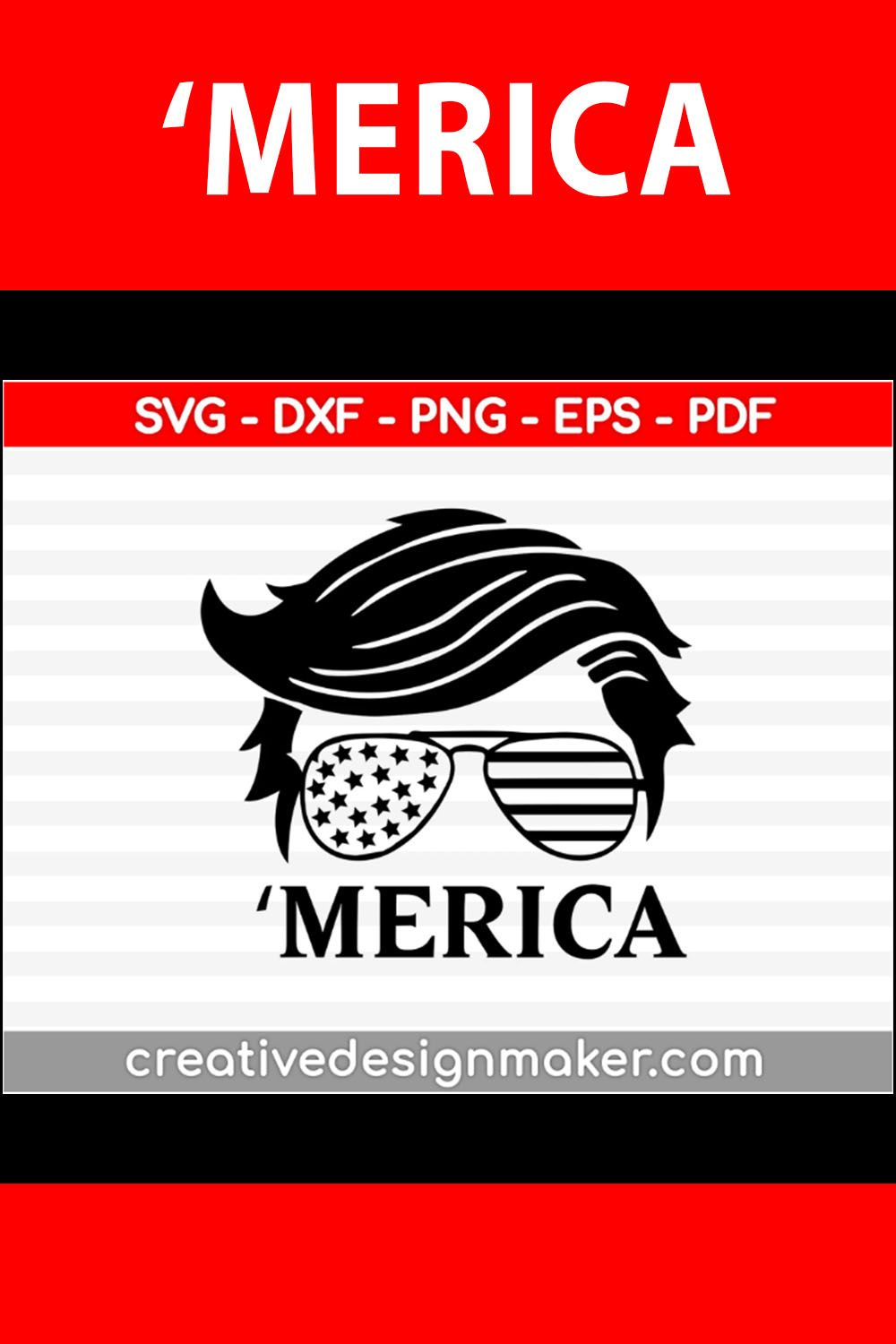 Trump Merica Trump 2020 Trump Hair Style Sunglasses American Flag Design Svg Dxf Png Eps Pdf File For Cameo And Printable Files In 2020 Flag Design Svg American Flag