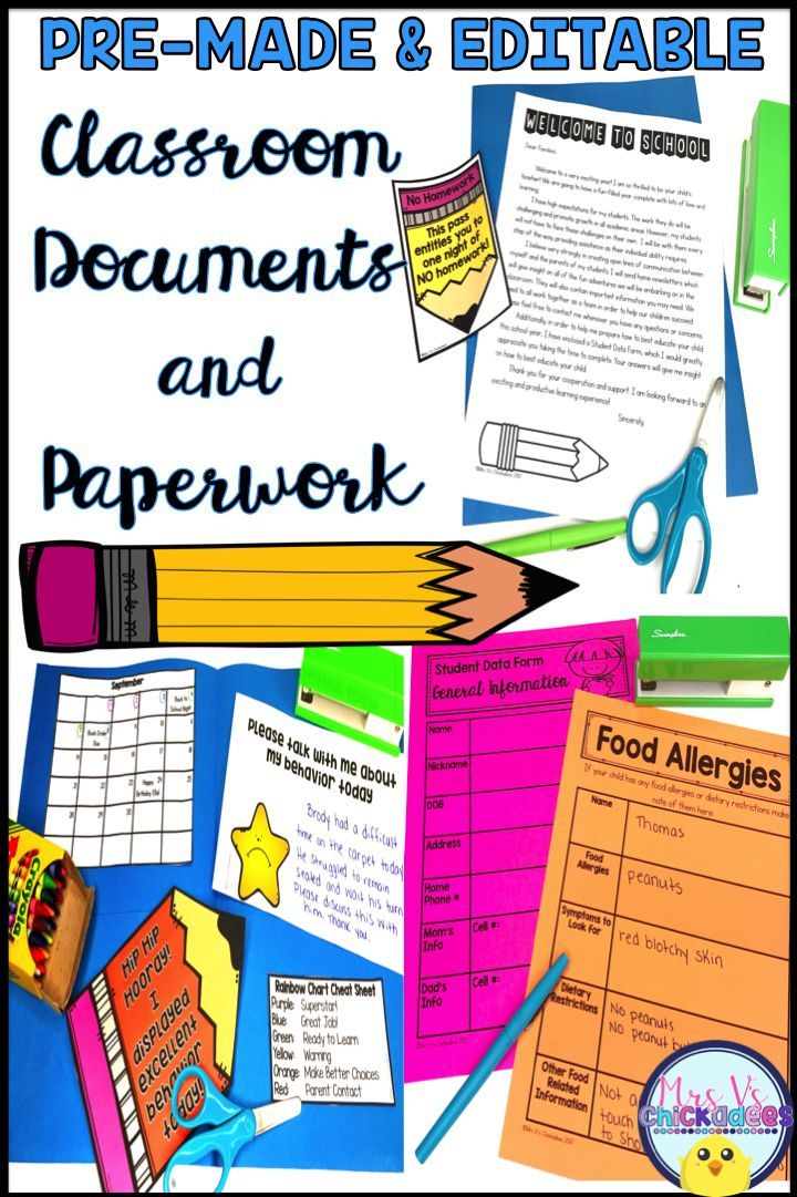 Classroom Documents  Paperwork for the Year EDITABLE and PRE-MADE - food sign up sheet template