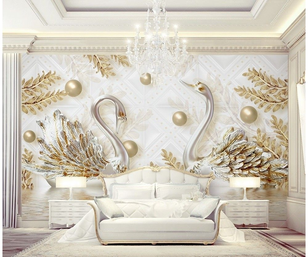 3d Look Swan And Gold Leaf With Water Pattern Wallpaper M
