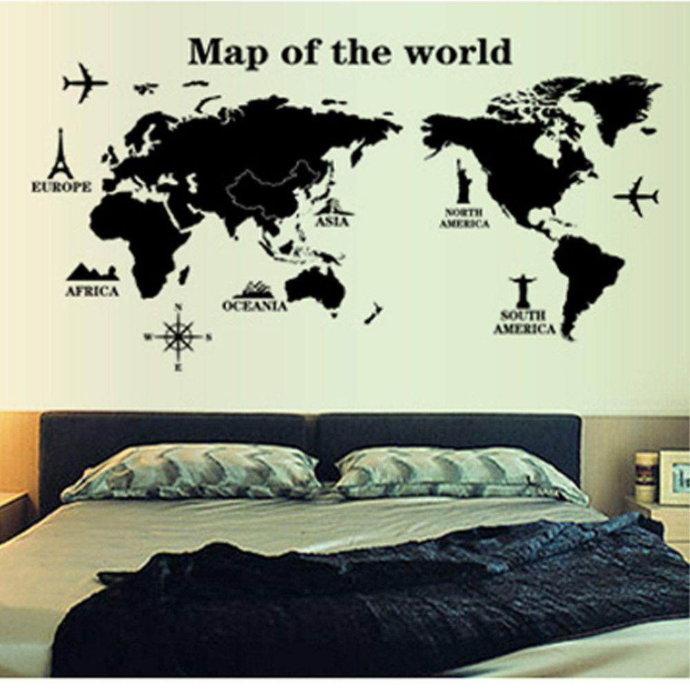 Cheap wallpaper sticker buy quality wallpaper apartments directly world map removable vinyl decal mural home decor wall stickers simple wall decal gumiabroncs Gallery