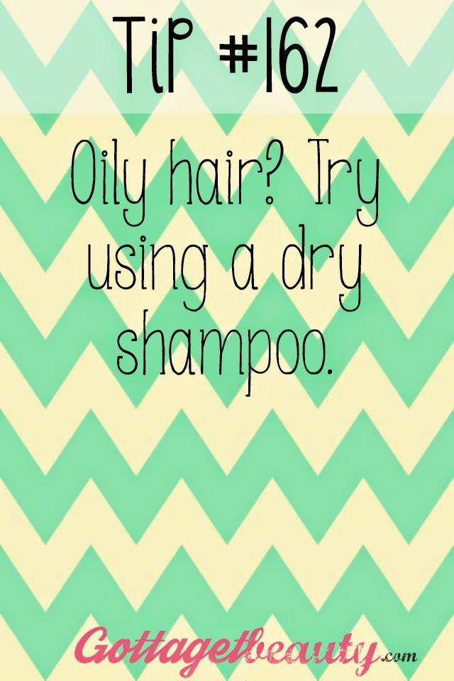 Random beauty tips and tricks! Gottagetbeauty.com Oily hair? Try using a dry shampoo.