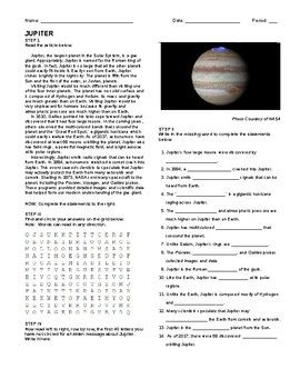 Jupiter- Article, Questions, Wordsearch, and Hidden