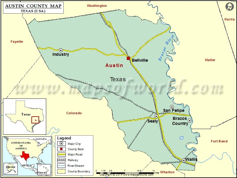 photograph relating to Printable Texas County Map referred to as Austin County Map, Texas United states Maps within 2019 County map