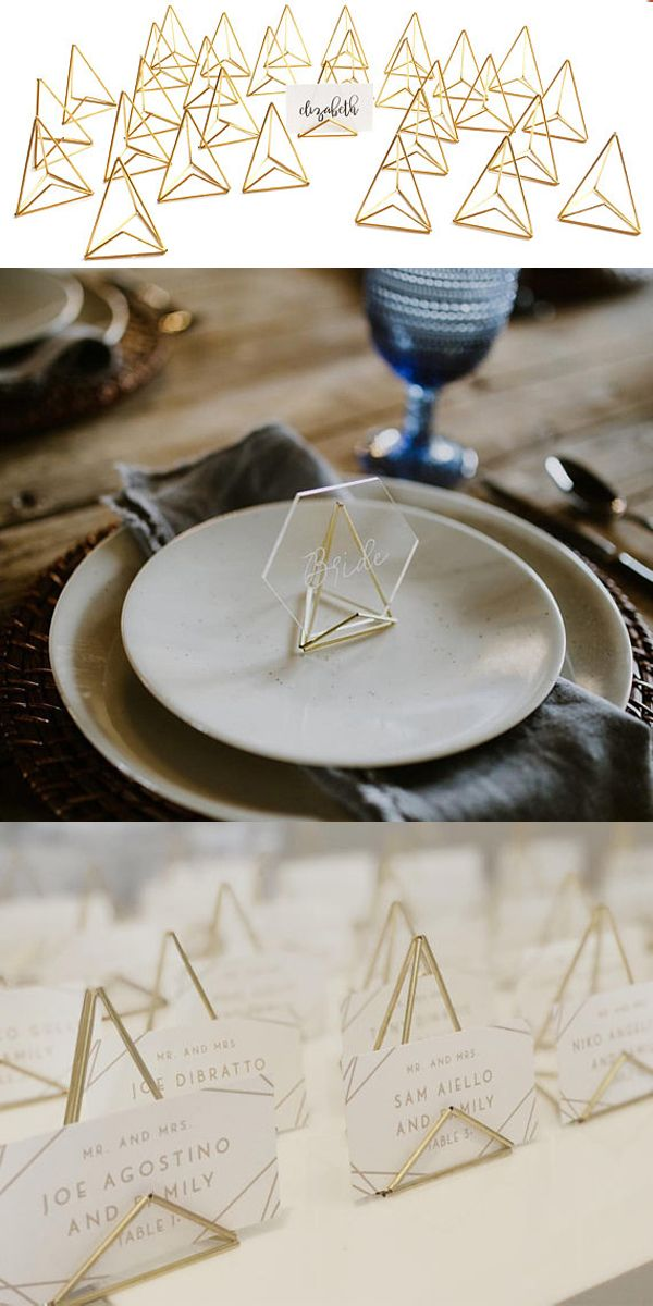 Modern weddings place card holder modlode wedding name seating chart geometric decor special   in also rh pinterest