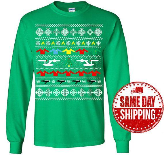 star trek shirt start trek ugly christmas sweater long by mugtees