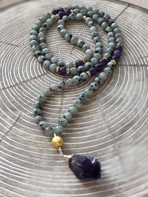 Lotus chain Mala chain gemstones Jade Jasper Agate
