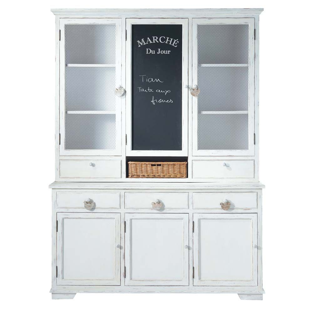 vaisselier en bois blanc basse cour l 162 cm prix. Black Bedroom Furniture Sets. Home Design Ideas