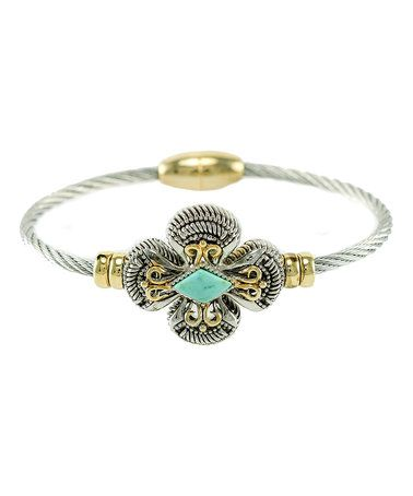 Another great find on #zulily! Two-Tone & Turquoise Clover Bracelet #zulilyfinds