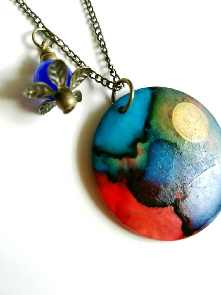 Painted pendant, ceramic pendant, abstract pendant, alcohol ink pendant, colorful  pendant, hand painted necklace, large circle pendant by SoulfulLeeYours on Etsy